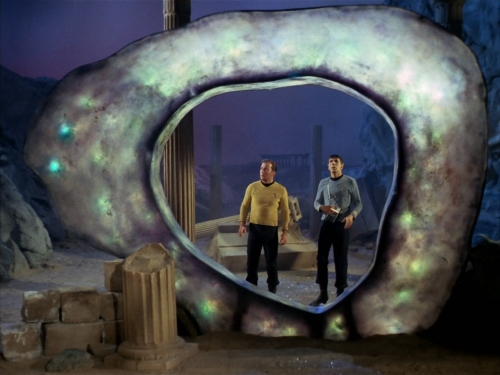 Kirk and Spock speak to the Guardian